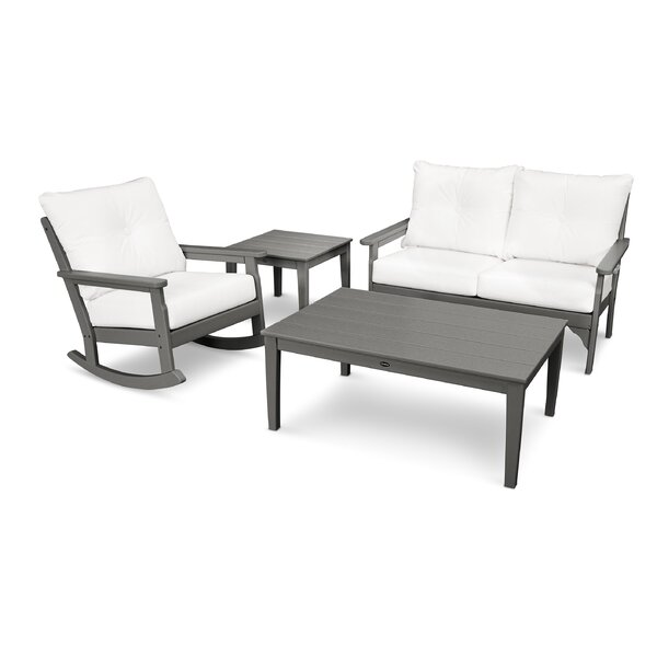 Vineyard Deep Seating 4 Piece Sofa Seating Group with Cushions by POLYWOOD®