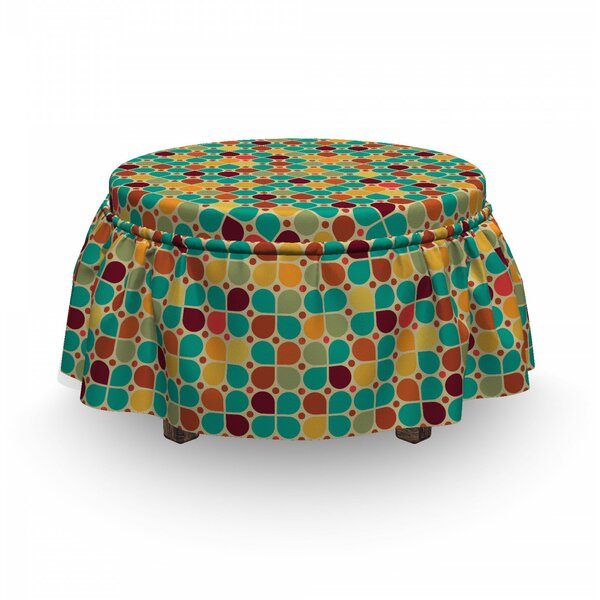 Polka Dots With Petals Ottoman Slipcover (Set Of 2) By East Urban Home