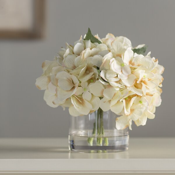 Hydrangea in Water Floral Arrangement in Glass Vase by Andover Mills
