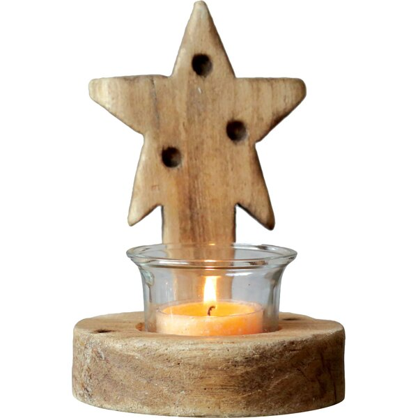 Morning Star Wood Tealight Holder by Creative Co-Op