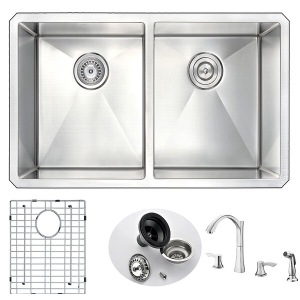 Vanguard 32 L x 18 W Double Bowl Undermount Kitchen Sink and Faucet