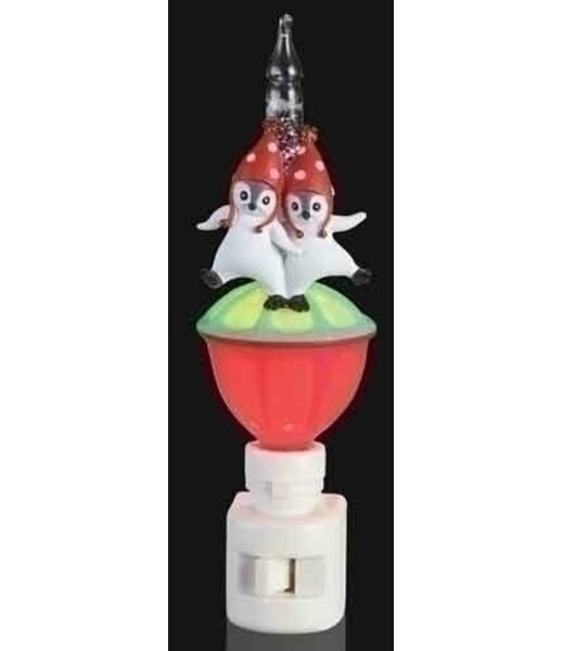 6.5 Double Penguin Christmas Glitter Bubble Night Light by Northlight Seasonal