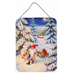 Christmas Gnome Pulling a Sled by Charles Gouling Painting Print Plaque by Caroline's Treasures