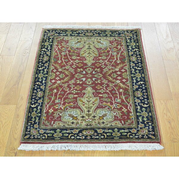 One-of-a-Kind Benally Revival New Zealand Hand-Knotted Red Wool Area Rug by Isabelline