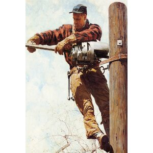 'The Lineman' by Norman Rockwell Photographic Print on Wrapped Canvas by East Urban Home