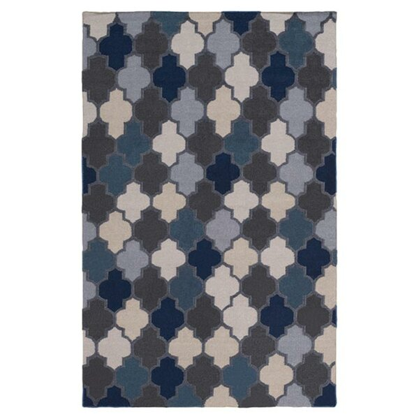 Crispin Navy Geometric Area Rug by Wrought Studio