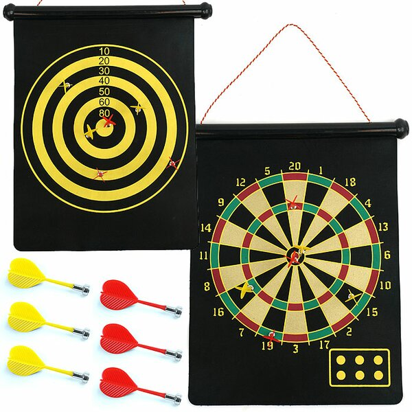 Magnetic Roll-up Dart Board and Bullseye Game with Darts by Trademark Games