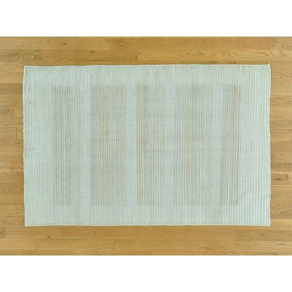 One-of-a-Kind Becker Striped Raised Hand-Knotted Wool Area Rug by Isabelline