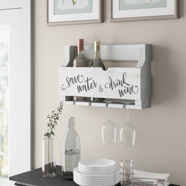 Mccandless Save Water 4 Bottle Wall Mounted Wine Bottle and Glass Rack by Gracie Oaks Gracie Oaks