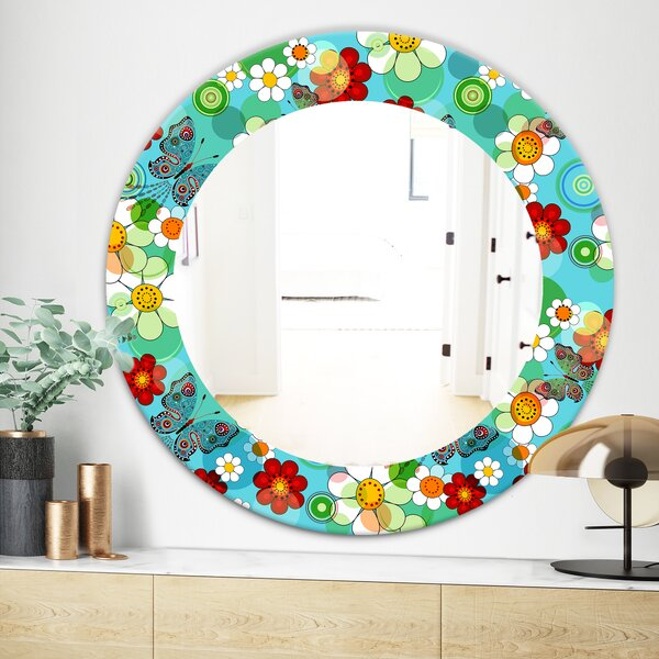 Vintage Flowers 5 Bohemian and Eclectic Wall Mirror