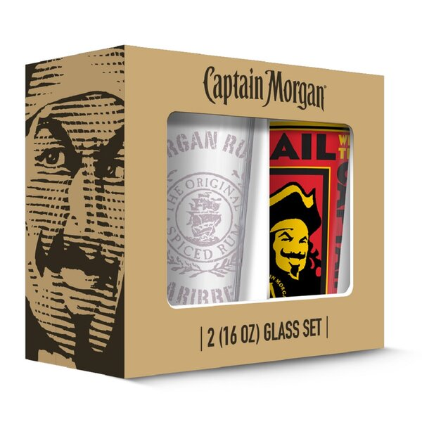 Captain Morgan Poster Pub 16 oz. Pint Glasses (Set of 2) by PB