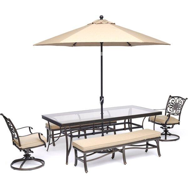 Bouck 5 Piece Dining Set with Umbrella by Three Posts