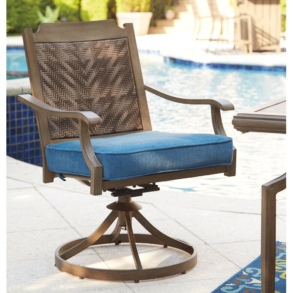 Goufes Swivel Patio Dining Chair with Cushion (Set