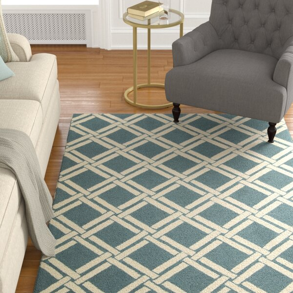 Hulings Hand-Knotted Teal/Ivory Area Rug by Alcott Hill