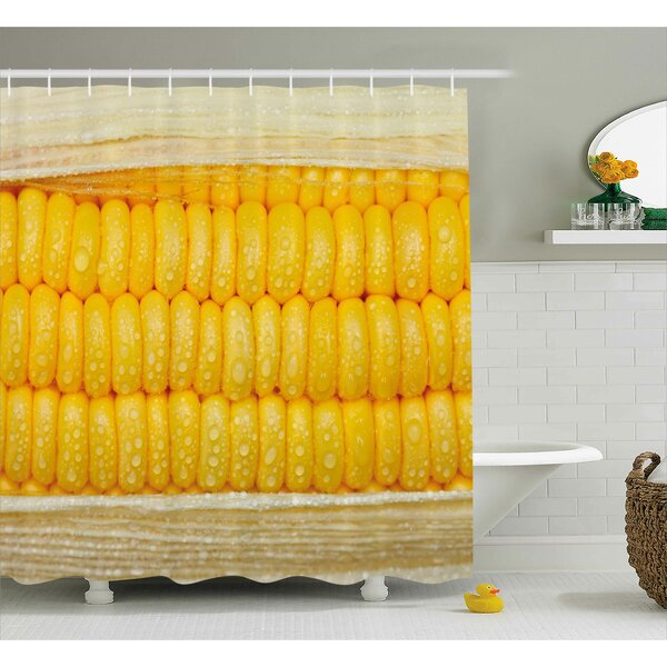 Erin Health Corn Cob Stem With Raindrops Water Marks Mexican Vegetable Photo Artwork Image Shower Curtain by Ebern Designs