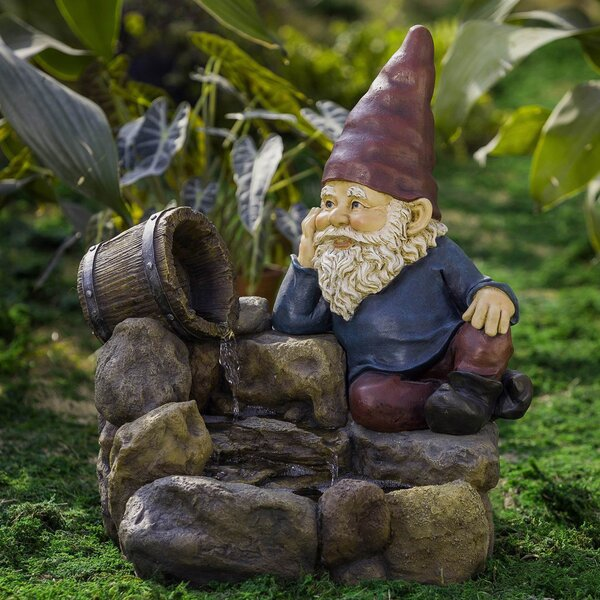 Resin/Fiberglass Thinking Gnome Fountain by Jeco Inc.