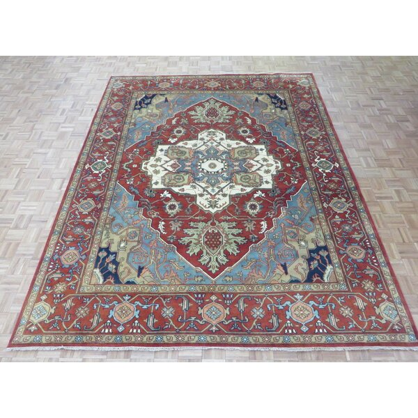 One-of-a-Kind Padro Heriz Hand-Knotted Wool Red/Blue Area Rug by Bloomsbury Market