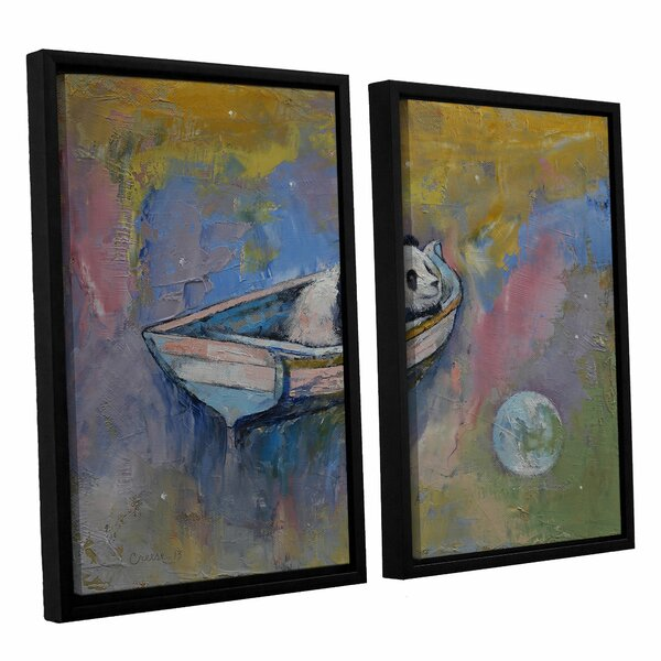 Panda Moon by Michael Creese 2 Piece Framed Painting Print Set by ArtWall
