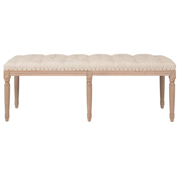Barbara Wood Tufted Wood Bench by One Allium Way