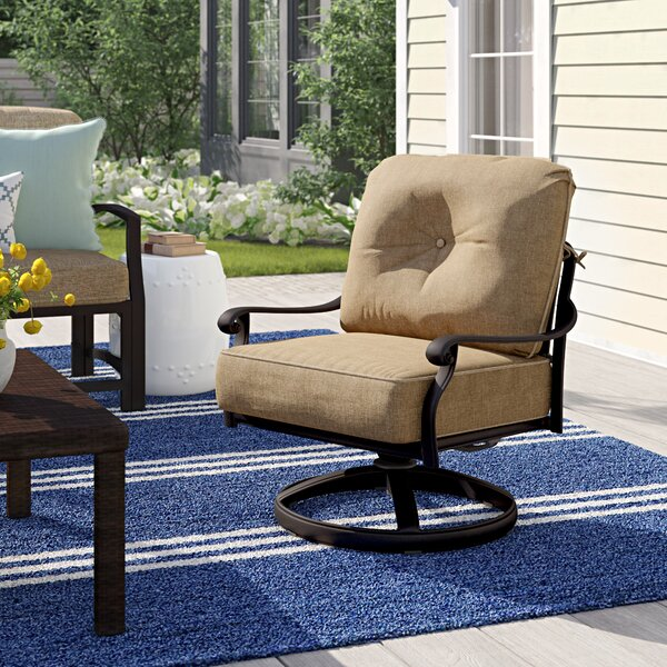 Lebanon Rocker Swivel Recliner Patio Chair with Cushions (Set of 4) by Three Posts Three Posts