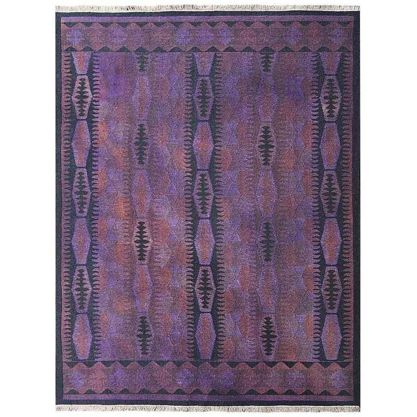Rackers Sumak Hand-Knotted Wool Purple Area Rug by World Menagerie