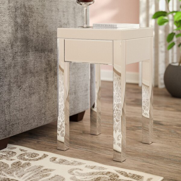 Keels Mirrored End Table With Storage by Willa Arlo Interiors