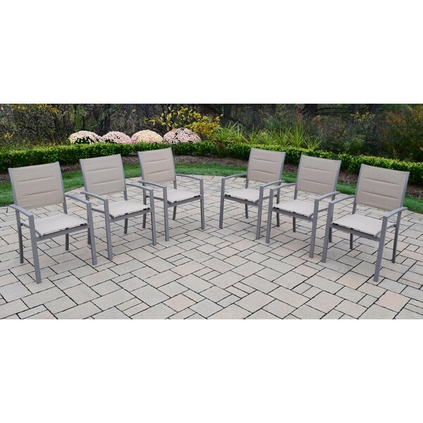 Padded Sling Stacking Patio Dining Chair (Set of 6) by Oakland Living