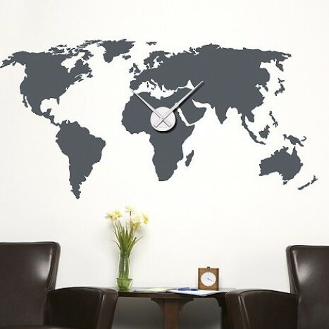 Style and Apply World Map Wall Clock Wall Decal | Wayfair