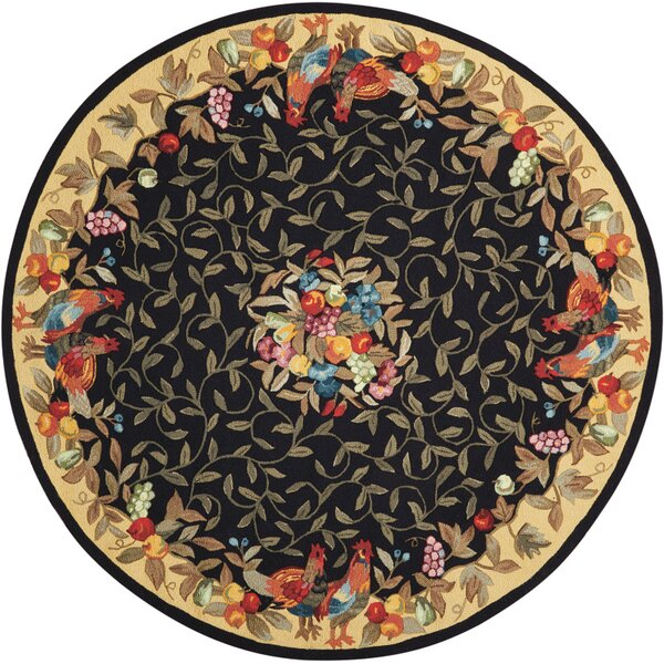 Chatelaine Hand-Tufted Black/Yellow Area Rug by August Grove