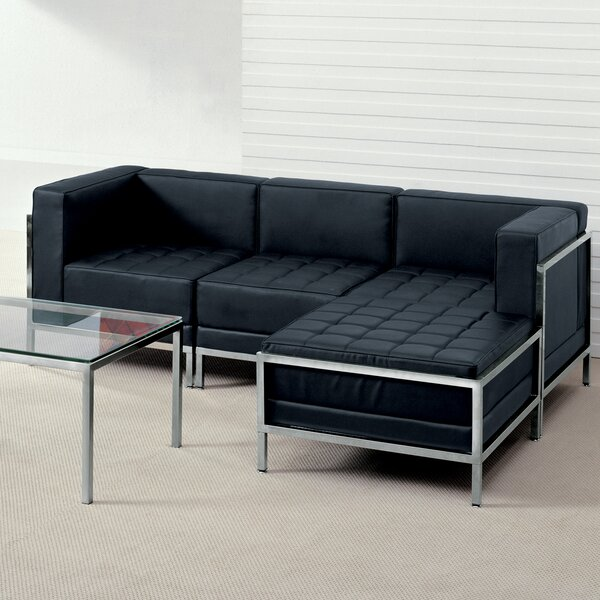 Pyron Right Hand Facing Leather Modular Sofa Sectional With Ottoman By Latitude Run