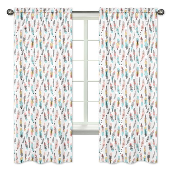 Feather Semi-Sheer Rod Pocket Curtain Panels (Set of 2) by Sweet Jojo Designs