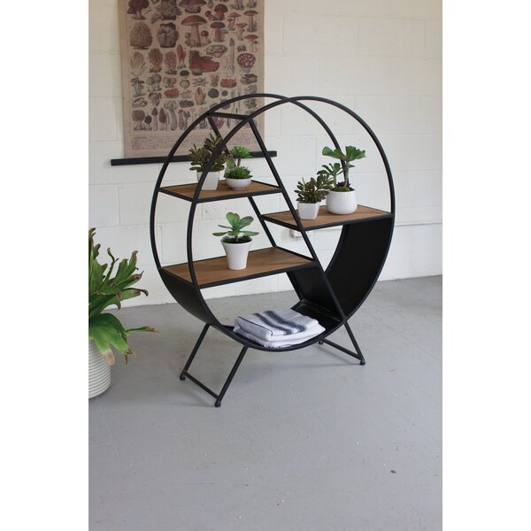 Orson Metal and Wood Round Geometric Bookcase by Gracie Oaks