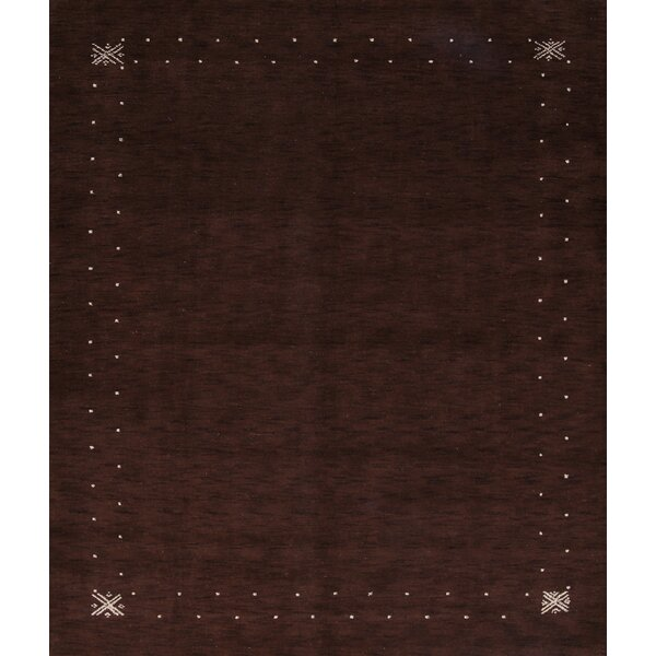 Arrowhead Gabbeh Oriental Hand-Knotted Wool Brown Area Rug by Bloomsbury Market
