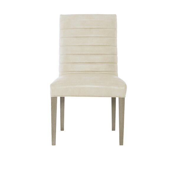 Mosaic Leather Upholstered Parsons Chair in Creme (Set of 2) by Bernhardt Bernhardt