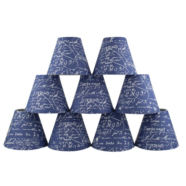 5 H Linen Empire Candelabra Shade ( Clip On ) in Blue/White (Set of 9)