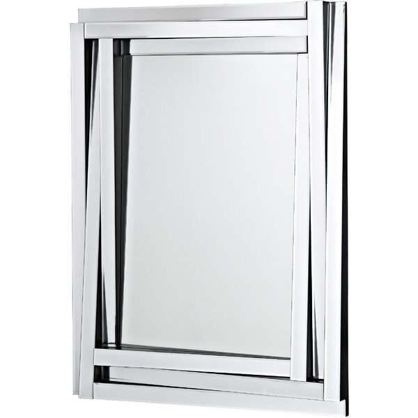 Modern Wood Framed Rectangular Beveled Glass Panel Hanging Wall Mirror by Majestic Mirror