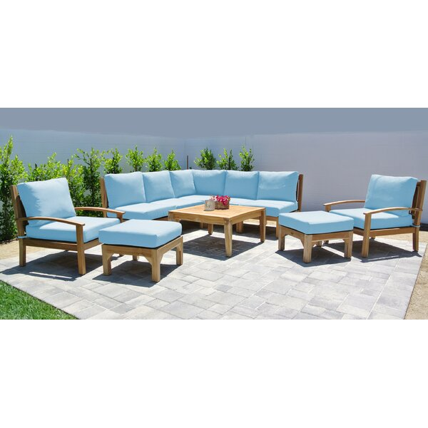 Crescio 10 Piece Teak Sectional Seating Group with Sunbrella Cushions by Foundry Select