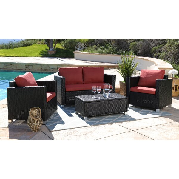 Jadon 4 Piece Rattan Sofa Seating Group with Cushions by Wade Logan
