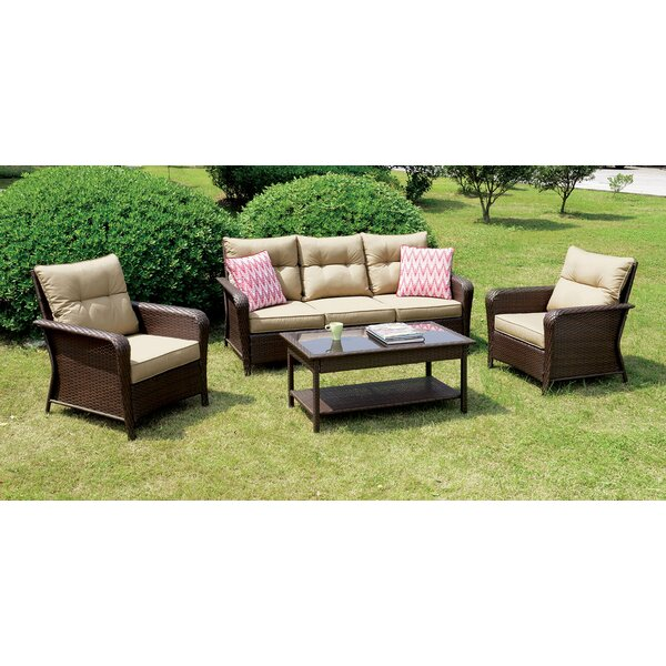 Derby 4 Piece Sofa Seating Group with Cushions by Bayou Breeze