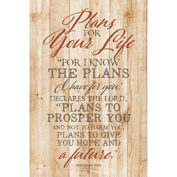 Plans for Your Life… Textual Art Plaque by Dexsa