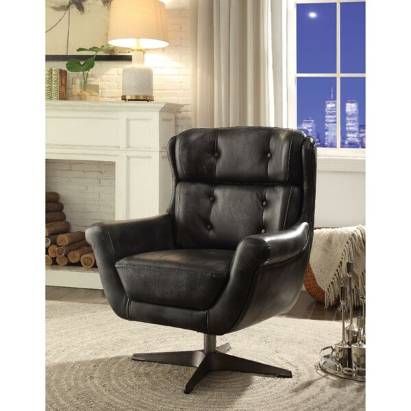 Aurora Metal Base Faux Leather Upholstered Swivel Armchair by 17 Stories