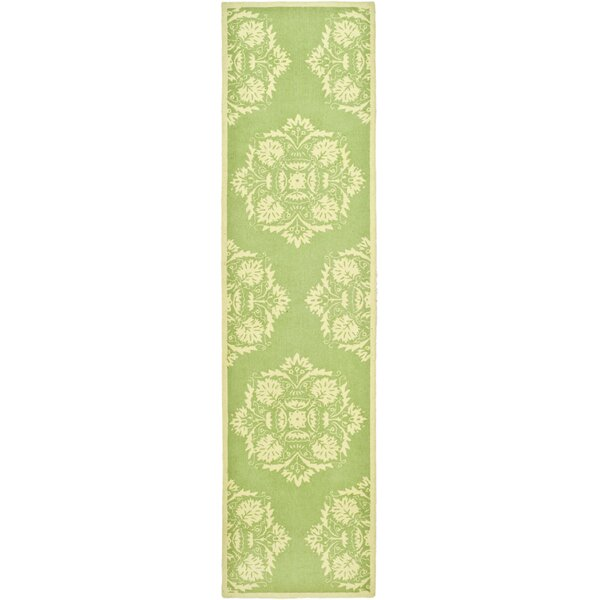 Helena Hand-Hooked Wool Green/Beige Area Rug by Charlton Home
