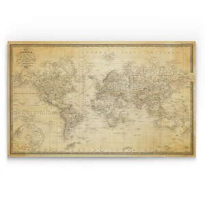 'Vintage Wold Map V' Graphic Art Print on Wrapped Canvas by Wexford Home