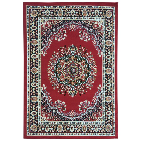 Eldred Dark Red Area Rug by Three Posts
