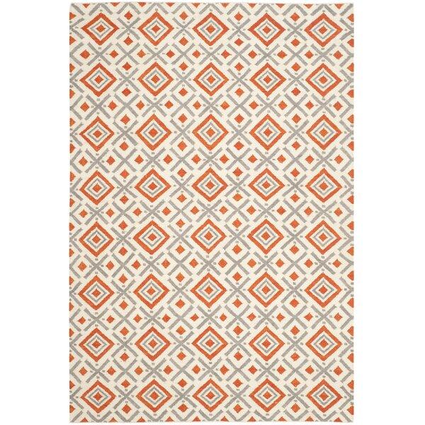 Dhurries Ivory / Tangerine Area Rug by Safavieh