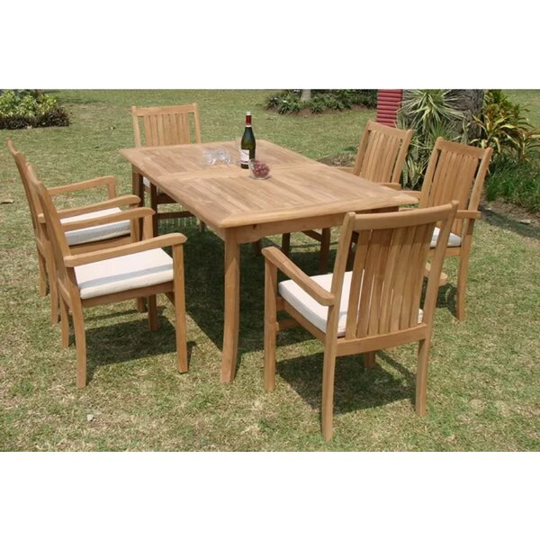 Mesa Luxurious 7 Piece Teak Dining Set by Rosecliff Heights