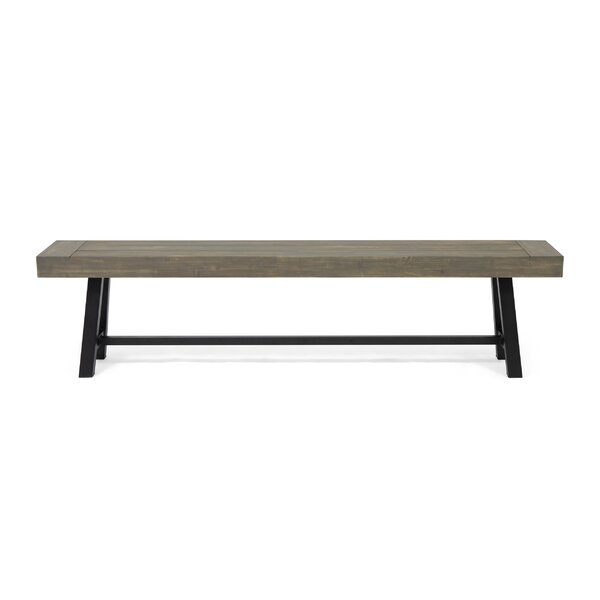 Meghans Outdoor Wooden and Iron Picnic Bench by Gracie Oaks Gracie Oaks
