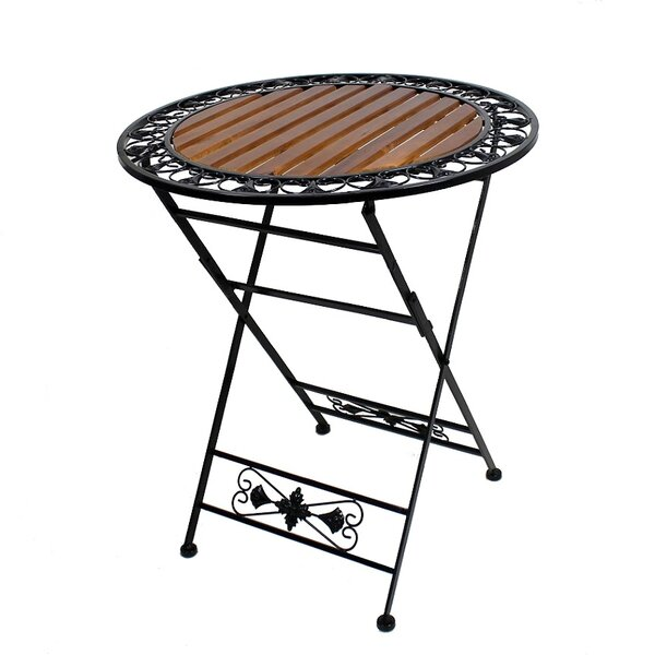 Brighton Round Folding Wooden/Metal Bistro Table by Fleur De Lis Living