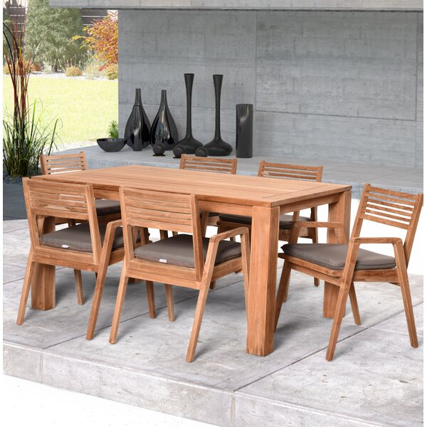 Hoff 7 Piece Teak Dining Set With Sunbrella Cushions by Rosecliff Heights