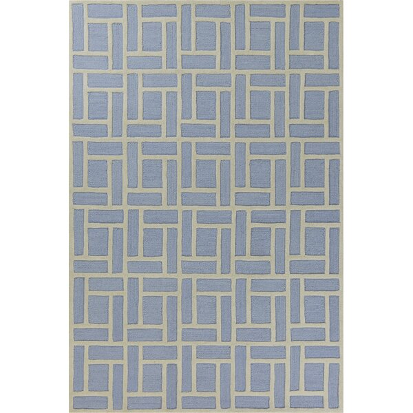 Soho Brick Hand-Tufted Wool Ice Blue Area Rug by Libby Langdon